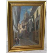 Antique 19th Swiss Original View Of Italy Oil Canvas Painting Signed Borel