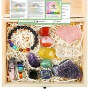 13 Pieces Healing Crystals Set Chakra Stones Kit Include Instructions And Wood