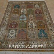 Yilong 4and039x6and039 Handknotted Silk Carpet Four Seasons Signed Floor Area Rug 0121
