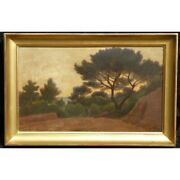Antique 19th Swiss Original View Of Provence Oil Canvas Painting Signed Potter