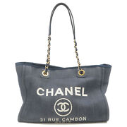 Authentic Deauville Mm Denim Chain Tote Bag Navy A67001 17348063 Used F/s