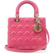 Authentic Christian Dior Cannage Lamb Skin Lady Dior 2way Bag Pink Used F/s