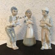 Casades Made In Spain 3 Matching Individual Porcelain Farm Scene Figurines