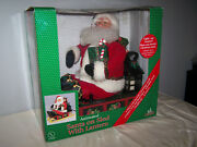 1995 Holiday Creations Animated Santa On Sled With Lantern Music Lighted