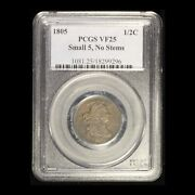 1805 1/2c Draped Bust Half Cent - Small 5, No Stems Pcgs Vf25 - Free Shipping Us