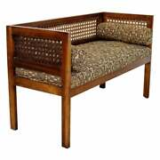 Mid Century Modern Wood Foyer Bench Seat Setee With Cane Rattan 1960s