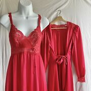 Vintage Red S Olga Peignoir Robe Bodylace Nightgown Negligee Gown 9291 9788 Set