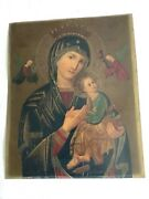 Large Antique Russian Religious Icon Madonna And Child Oil/sheet Metal