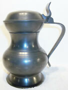 Antique English Pewter 18 Oz. Lidded Tankard By Ingram And Hunt Bewdley 1780-1820