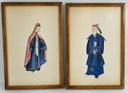 Antique Chinese Export Watercolor Paintings Rice Pith Paper Priests Mandarin