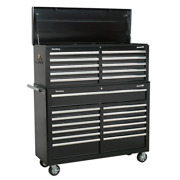 Sealey Ap52combo2 Tool Chest Combo 23 Drawer Ball Bearing Runners Black Sws21