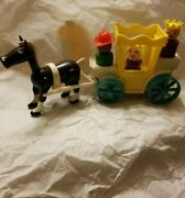 Vintage Fisher Price Little People Castle Black Horse,carriage,harness, King Que