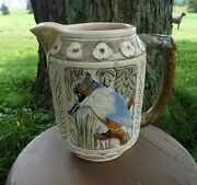 Weller Pottery Zona Line 1920and039s Kingfisher Bird Pitcher W/ Panels Of Cattails