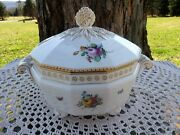 Nymphenburg Bavaria Germany Perl Pearl 982 Painted Flowers Covered Dish Tureen