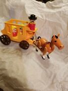 Vintage Fisher-price Little People Horse Harness Stagecoach With Western Peopl