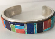 Old Pawn Zuni Signed Sterling Silver Multi Stone Channel Inlaid Cuff Bracelet