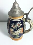 West German Musical Beer Stein Lidded Dbgm  Rare -white Flower -free Shipping