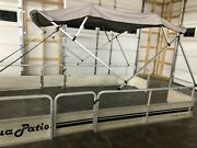 Complete Pontoon Boat Square Tube Bimini Top Kit 9and039x8and039 Grey Lifetime Warranty