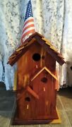Beautiful Large Handcrafted Finished Cedar Bird Box House Condo Great Quality