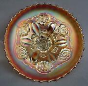 C182 Dugan Double Stemmed Rose Marigold Carnival Glass Dome-foot Bowl