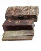 3 Vintage Antique Wood Boxes Chests Handmade To Wine Pens Jewelry 11 To 13