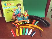 V. Rare Red China Me 837 Tin Battery Musical Loco Xylophone Train Set W/ Or. Box