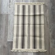 New Ikea Signe Striped Woven Fringed 1and03910 X 2and0399 Rug Grey And Natural Farmhouse