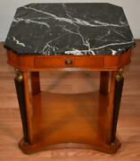 Vintage Meyer Gunther Martini French Empire Style Satinwood And Marble Side Table