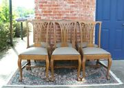 Set Of 6 American Antique Tiger Oak Ball And Claw Upholstered Dining Chairs