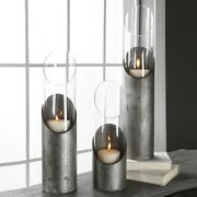 Set Of Three Candle Holders Industrial Aged Iron And Glass Uttermost 17518