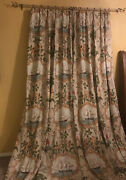 """Vtg Custom Made Drapes Pinch Pleated Lined 2 Panels 102"""" 17/18th Century Scenes"""