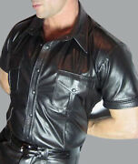 Menand039s Real Cowhide Leather Police Uniform Shirt Short Sleeve Bluf Shirt