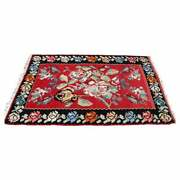 Mid Century Modern Kilim Wool Area Rug Red Hand Made In Turkey Floral Pattern