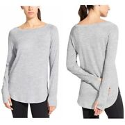 Athleta Womens Size Xs Gray Pose Top Pullover Thumbhole Long Sleeves Stretch