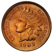 1903 1c Indian Cent Pcgs Ms66+rd Cac