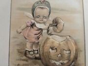 Vintage Winsch Freixas Child Halloween Postcard-rare Card Done In Pastel Colors