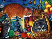 Framed Canvas Art Print Giclee Potting Shed Cats Kittens Fruits Planters Garden