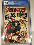 Avengers 4 - Cgc 2.0 - Marvel Comics - 1964- Ow/w Pages - Original Owner Book