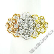 18k Tri Color Gold 0.75ct Round Diamond Flexible Moving Top Floral Textured Ring