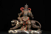 Old Chinese Wucai Porcelain Feng Shui Mammon Money Wealth God Ride Tiger Statue