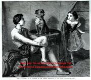 Dog Circus Trick Terrier Named Toby, Children, Big 1860s Antique Engraving Print