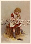 Dog Sick Puppy And Girl Veterinarian Antique Color Veterinary Veterinary Print