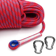Climbing Rope Outdoor Rappelling Cord 4000lbs Pull Strength W/ 2 Lock Carabiner
