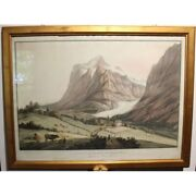 Antique 19th Swiss Original Grindelwald Watercolor Paper Painting Signed Linck