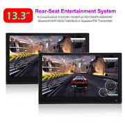 2pc 13.3andldquo Android 9.0 Car Headrest Touch Screen Monitor 1080p Wifi Bt Dual Hdmi