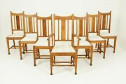 Antique Dining Chairs Arts + Crafts Mission Carved Oak Scotland 1910 B2543