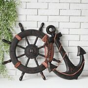 Nautical Wooden Pirate Boat Ship Steering Wheel Anchor Wall Art Home Decoration