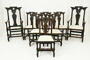 8 6+2 Antique Victorian Gothic Revival Oak Dining Chairs, Scotland 1880, B2502