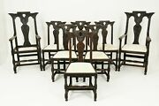 8 6+2 Antique Victorian Gothic Revival Oak Dining Chairs Scotland 1880 B2502