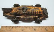 Vintage Hubley-cast Iron 4-1/4 Racer With Slant Grille And Tail Fin Metal Wheels